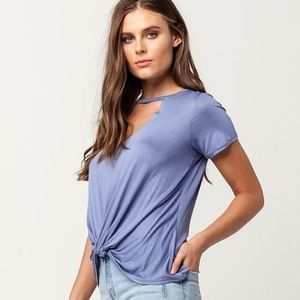 Socialite Periwinkle Choker cut out tee